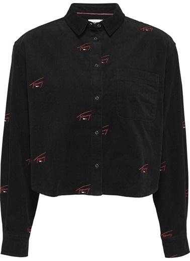 Tommy Hilfiger Kadın Tjw Critter Cord Shirt Gömlek DW0DW08912 Siyah